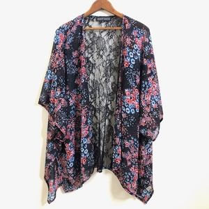 Almost Famous Sheer Floral Kimono Cardigan